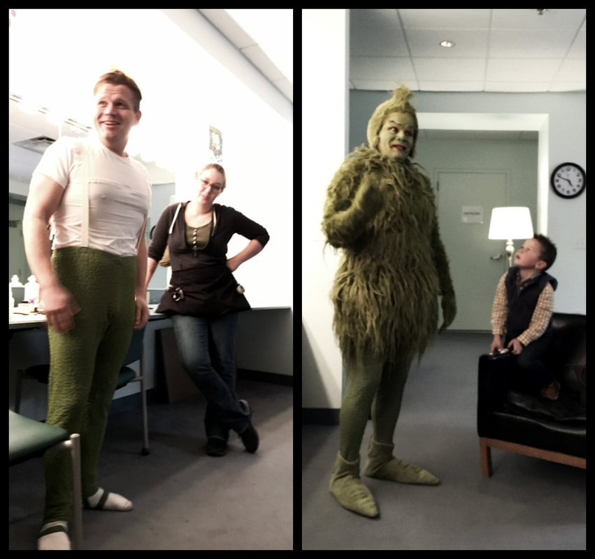 Pictured: Left, actor Reed Sigmund poses in the dressing room. Right, Reed dressed as the Grinch with green makeup, wig, and costume.