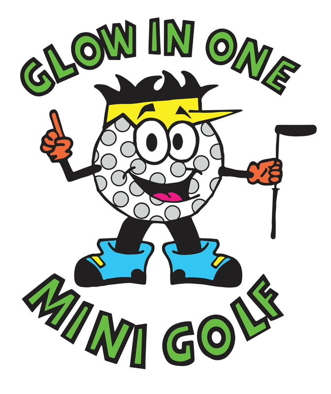 Glow In One Mini Golf logo: Dimples (a cartoon golf ball holding a golf club)