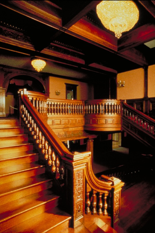 Interior wood staircase of the Victorian James J. Hillhouse